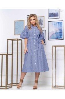 Стильное синее платье в полоску