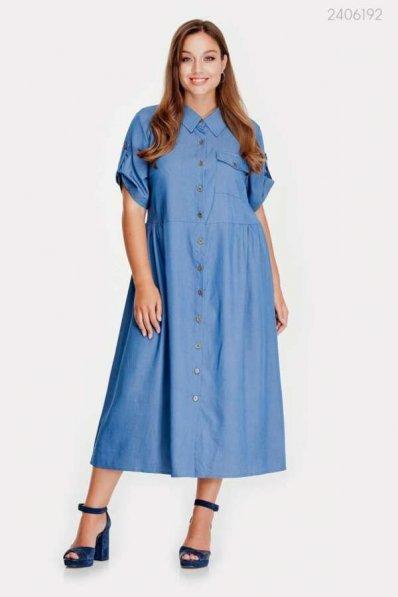 Стильное джинсовое платье синего цвета