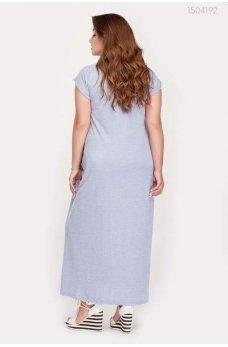 Голубое трикотажное длинное платье