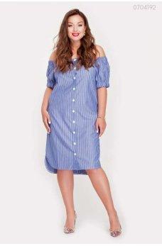 Синее стильное платье с карманами