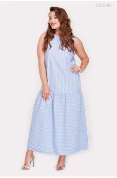 Голубое стильное летнее платье без рукавов