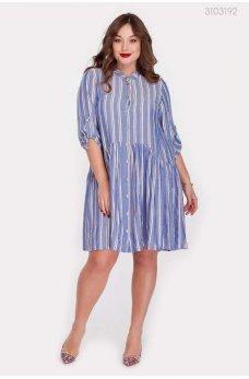 Голубое изящное платье в полоску