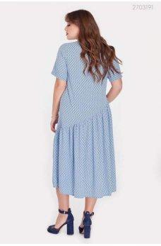 Голубое платье миди с коротким рукавом