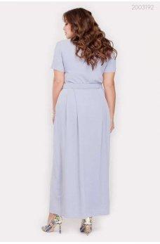 Голубое женственное платье макси