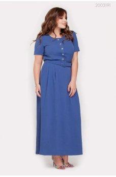 Батальное летнее платье джинсового цвета