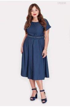 Синее джинсовое платье с коротким рукавом