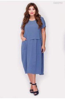 Летнее трикотажное платье джинсового цвета
