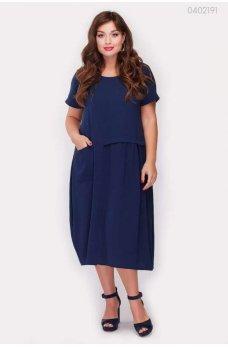 Синее летнее платье миди