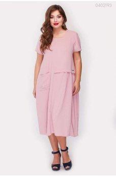 Легкое летнее платье фрезового цвета