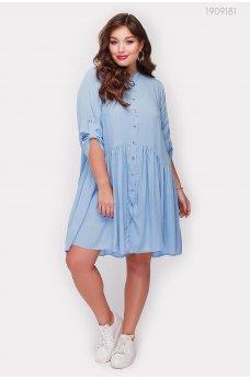 Голубое легкое платье батал