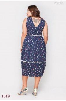 Синее оригинальное платье батал