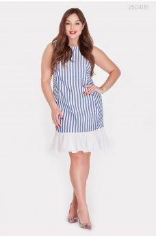 Льняное платье с воланом цвета электрик