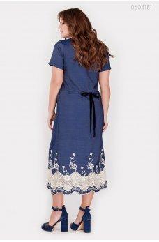 Синее джинсовое платье макси