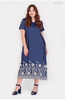 Синее джинсовое платье с вышивкой