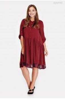 Женственное платье цвета марсала из креп-шелка