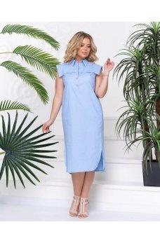 Голубое стильное платье миди