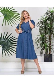 Синее джинсовое платье миди