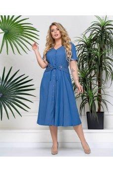 Голубое джинсовое платье с корсетом
