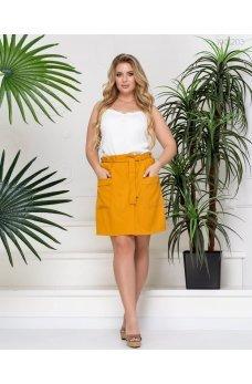 Горчичная стильная юбка-шорты