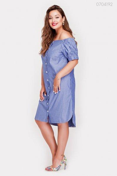 Синее платье батал на пуговичках