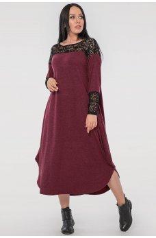 Бордовое платье оверсайз с гипюром