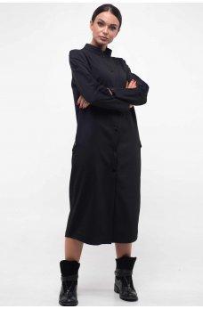 Черное платье рубашка на кнопках