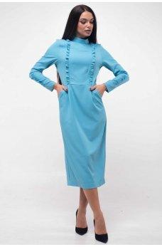 Игривое платье голубого цвета с карманами