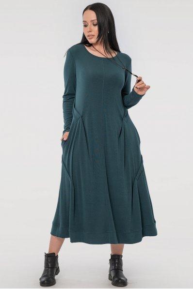 Оригинальное платье-трапеция изумрудного оттенка