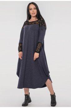 Синее платье оверсайз с гипюром