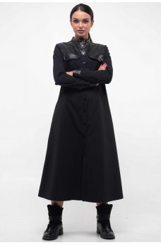 Стильное платье черного цвета на кнопках