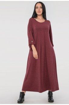 Свободное платье батал бордового цвета