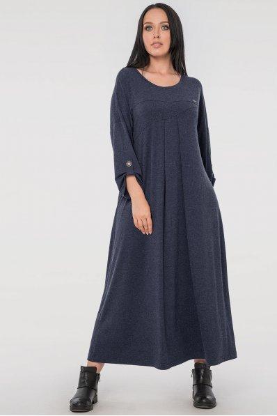 Свободное платье батал синего цвета
