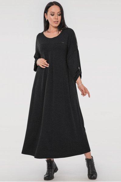 Свободное платье батал темно-серого цвета