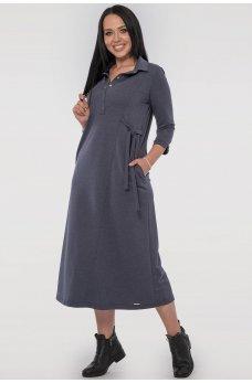 Удобное платье рубашка цвета джинса