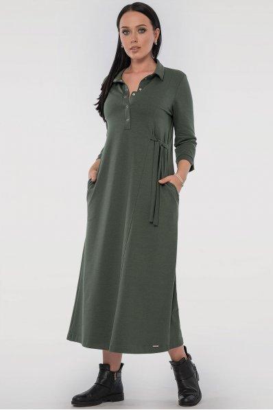 Удобное платье рубашка цвета хаки