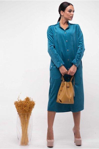 Вельветовое платье рубашка синего оттенка на кнопках