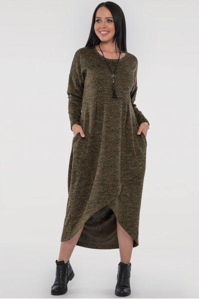 Зеленое платье мешок с карманами