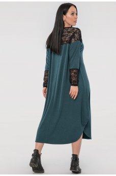 Зелене плаття оверсайз з гіпюром