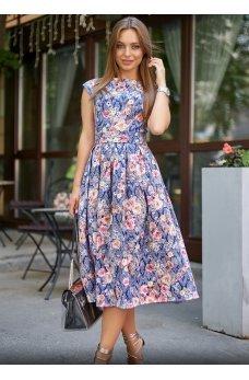 Жаккардовое платье с пышной юбкой темно-синего оттенка