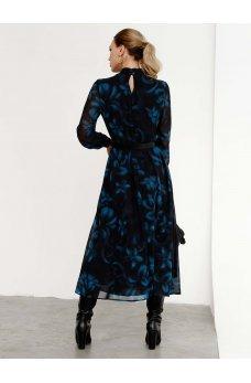 Расклешенное платье-миди из воздушного шифона