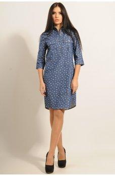 Джинсовое платье-рубашка с принтом зонтики