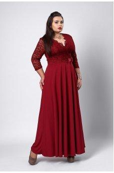 Нарядное бордовое платье в пол с гипюром