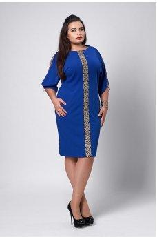 Нарядное ярко-синее платье с золотым орнаментом