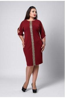 Ошатне бордове плаття з золотим орнаментом