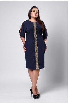 Нарядное темно-синее платье с золотым орнаментом