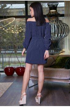 Синее платье в горошек с открытыми плечиками