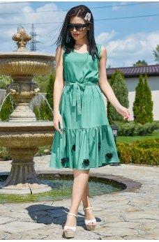 Бирюзовое коттоновое платье с нашивными цветами