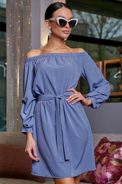 Легкое голубое платье в горошек с открытыми плечиками