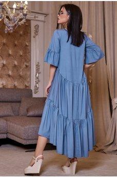 Коттоновое свободное ассиметричное платье голубого цвета