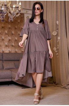 Коттоновое свободное ассиметричное платье кофейного цвета